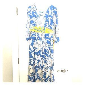 Anthropologie Mauve Long Sleeve, Floral Maxi Dress